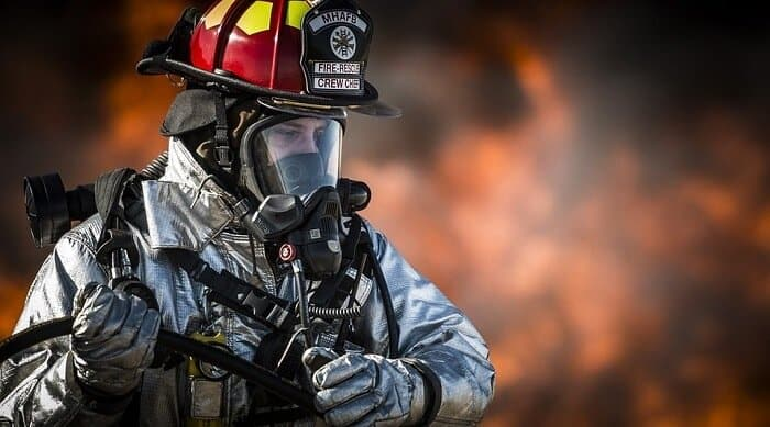 firefighter wearing a suit