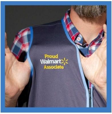 Proud Walmart Associate showing off new work vest