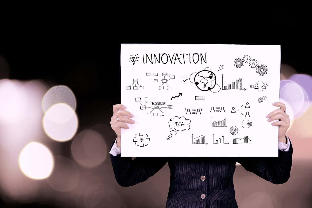"a person in business suit holding a board with different illustrations and with the word ""Innovation"""