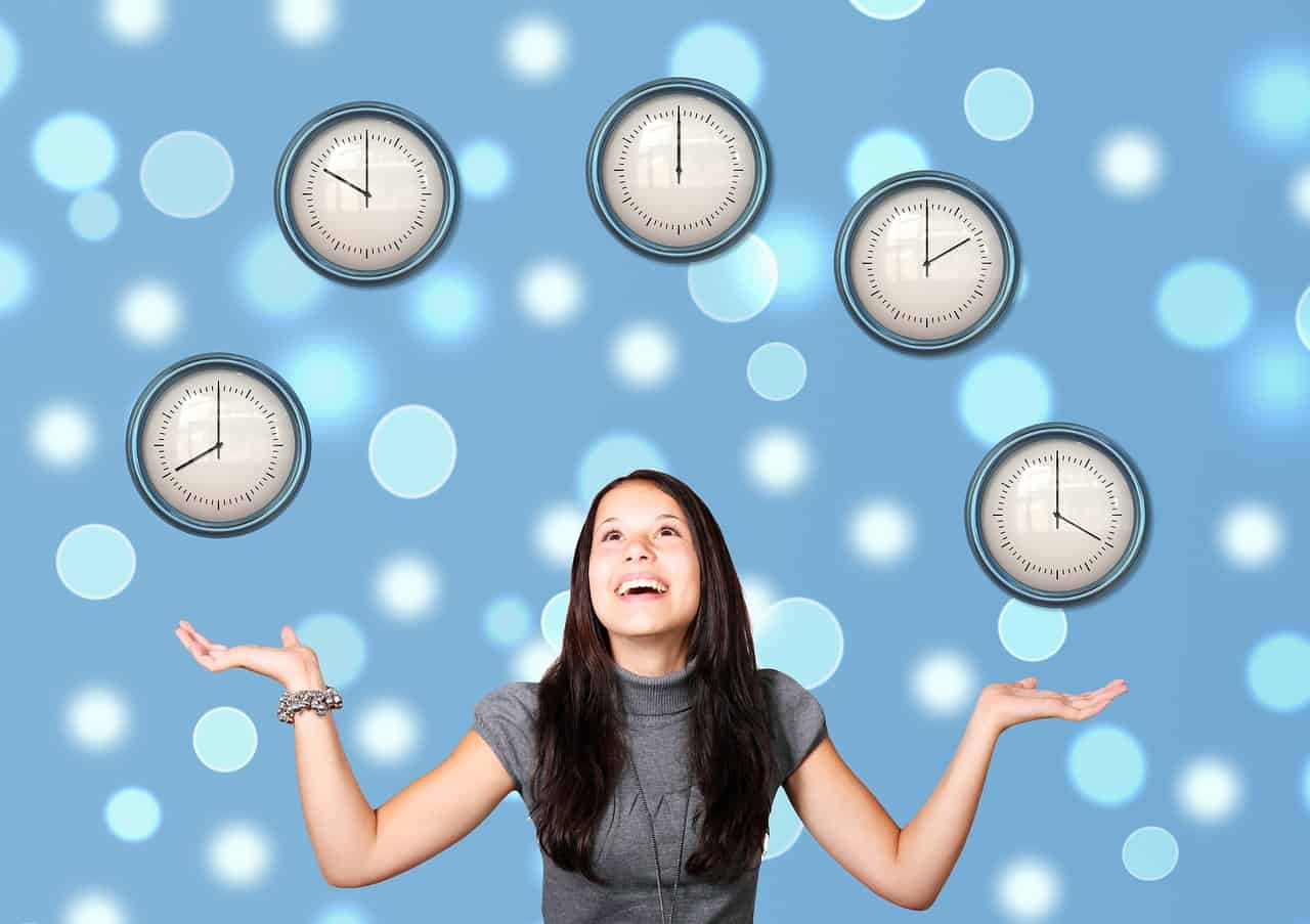 a woman who seems to be juggling wall clocks, symbolizing time management